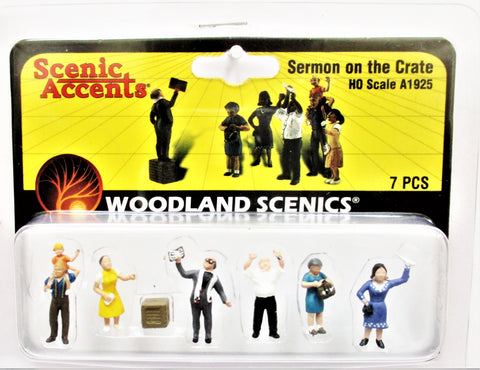 HO Scale Woodland Scenics A1925 Sermon on the Crate Figures (7) pcs