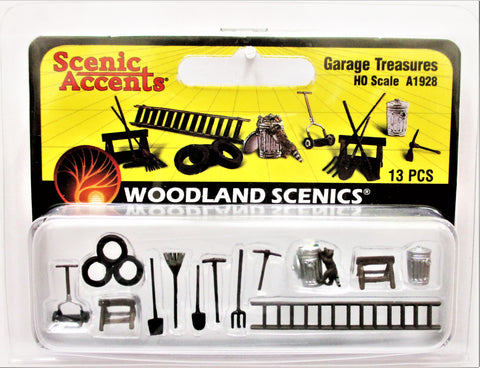 HO Scale Woodland Scenics A1928 Garage Treasures Details (13) pcs