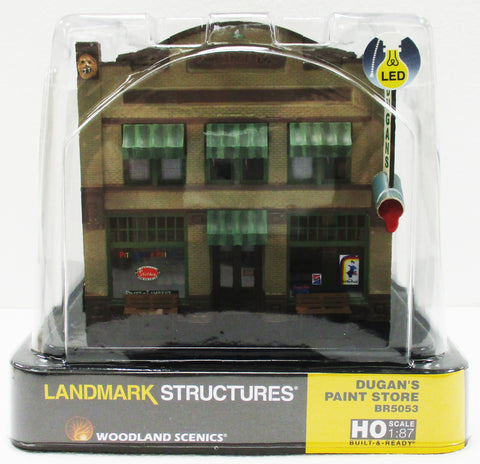 HO Scale Woodland Scenics BR5053 Dugan's Paint Store Built Up & Lighted Building