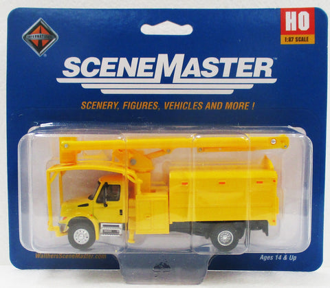 HO Scale Walthers SceneMaster 949-11743 Yellow International 4300 w/Tree Trimmer Body