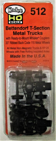 HO Scale Kadee #512 Bettendorf T-Section Trucks with Couplers 1 pr