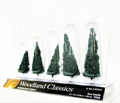 Woodland Classics Ready-Made Trees TR3566 Blue Needle - 5/pkg
