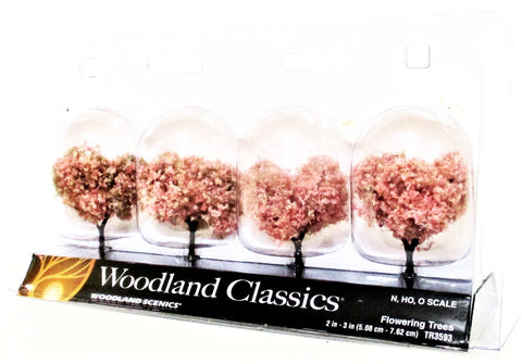 Woodland Classics Ready-Made Trees TR3593 Pink Flowering - 4/pkg