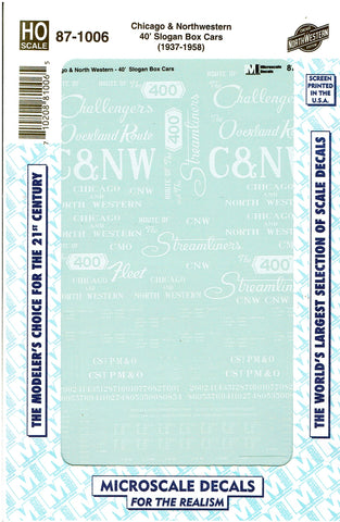 "HO Scale Microscale 87-1006 CNW Chicago & North Western 40"" Box Cars Decal Set"