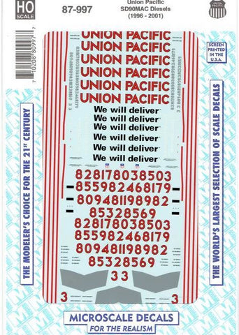 "HO Scale Microscale 87-997 Union Pacific UP SD90mac ""We Will Deliver""  Decal Set"