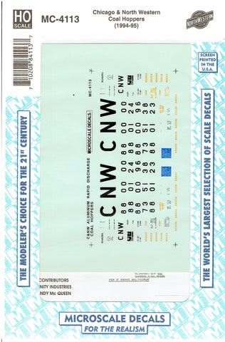 HO Scale Microscale MC-4113 CNW Chicago & North Western Coal Hoppers Decal Set