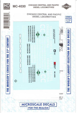 HO Scale Microscale MC-4030 CC&P Chicago Central & Pacific Diesels Decal Set
