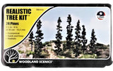 Woodland Scenics TR1113 Realistic Tree Kit Forest Green Pines (24) pkg