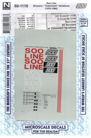 N Scale Microscale 60-1116 Soo Line 50' Box Cars with Colormark Variations Decal Set