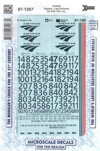 HO Scale Microscale 87-1267 Amtrak Diesels GE P40/42 Late Scheme Decal Set