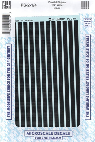 "All Scale Microscale PS-2-1-4 Black 1/4"" Wide Parallel Stripes Decal Set"