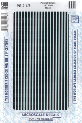"All Scale Microscale PS-2-1-8 Black 1/8"" Wide Parallel Stripes Decal Set"