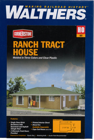 HO Scale Walthers Cornerstone 933-3777 Ranch Tract House Kit