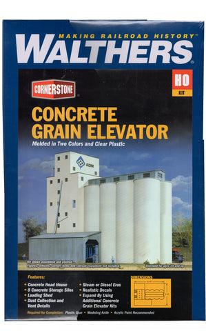 HO Scale Walthers Cornerstone 933-3022 ADM Concrete Grain Elevator Kit