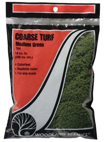 Woodland Scenics T64 Coarse Light Green 21.6 cu in (353 cu cm) BagMedium Green