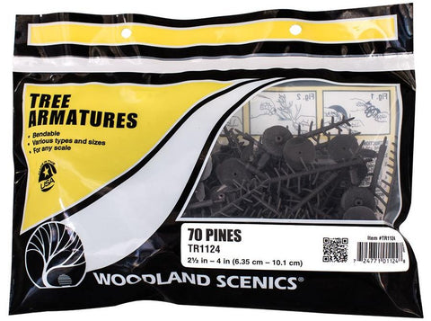 Woodland Scenics TR1124  2 1/2 in to 4 in Pine Tree Armatures (70) pkg