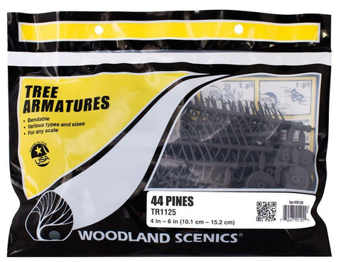 Woodland Scenics TR1125  4 in to 6 in  Pine Tree Armatures (44) pkg