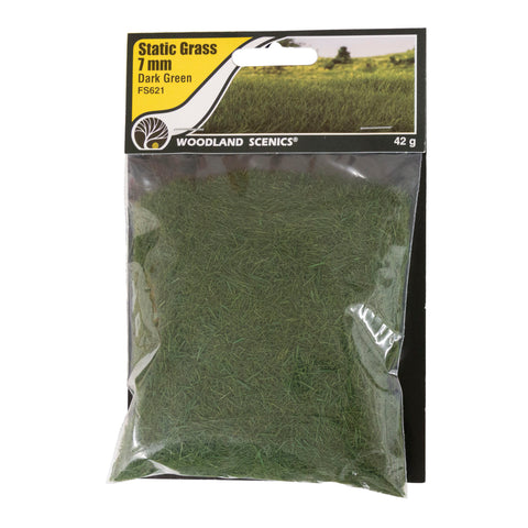 "Woodland Scenics FS621 Field System Static Grass Dark Green 1/4"" 7mm Fibers"