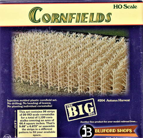 HO Scale Bluford Shops #204 Autumn Harvest 1120 Stalks Cornfield Kit
