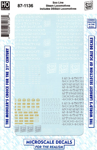 HO Scale Microscale 87-1136 Soo Line MStP&SSM Steam Locomotives Decal Set