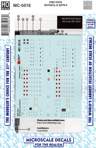 HO Scale Microscale MC-5016 EMD SD70ACe & SD70-2 Data Decal Set