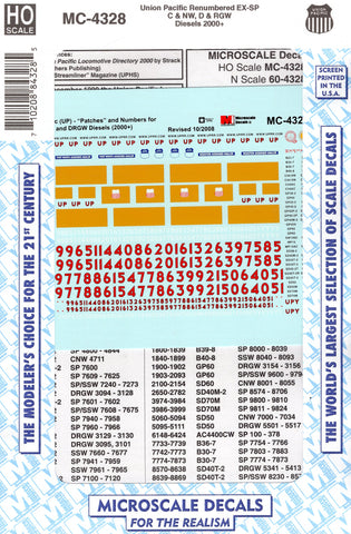 HO Scale Microscale MC-4328 UP Union Pacific Patch Renumbered ex-CNW SP Decal