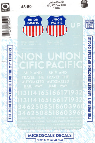 O Scale Microscale 48-50 Union Pacific UP 40' & 50' Boxcars Decal Set
