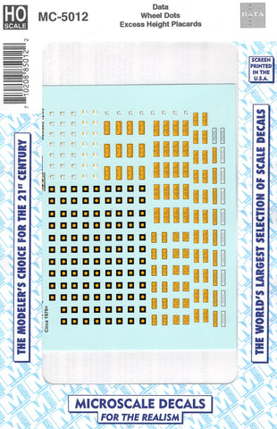 HO Scale Microscale MC-5012 Wheel Inspection Dots & Excess Height Placards Decal