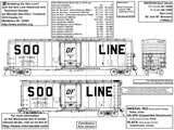 HO Scale Microscale 87-1048  Soo Line 40' and 50' Box Cars 1950s+ Decal Set