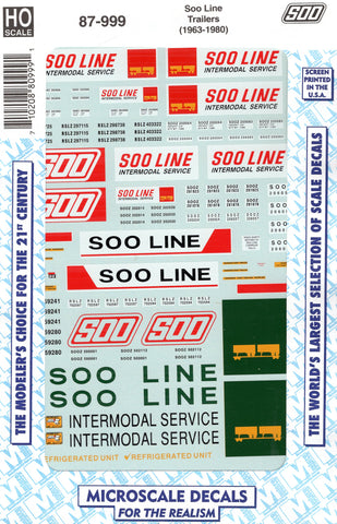 HO Scale Microscale 87-999 Soo Line 40' Piggyback Trailers Decal Set