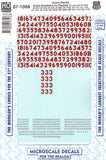 HO Scale Microscale 87-1068 Union Pacific UP Diesel Extra Numbers Decal Set