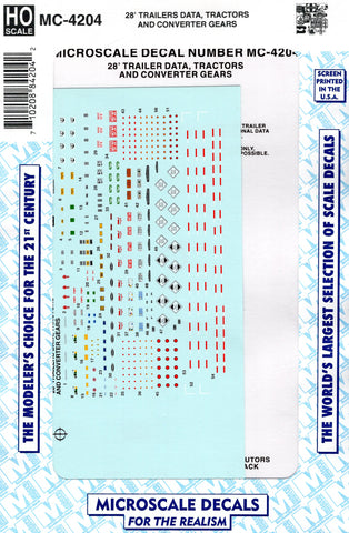 HO Scale Microscale MC-4204 Data for 28' Trailers Decal Set