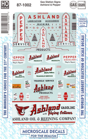 HO Scale Microscale 87-1002 Ashland and Pepper Gas Station Sign Decal Set