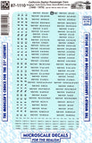HO Scale Microscale 87-1110 California Zephyr CZ Passenger Cars Decal Set