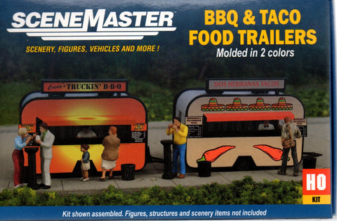 HO Scale Walthers SceneMaster 949-2904 BBQ & Taco Stand Food Trailers