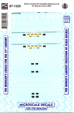 HO Scale Microscale 87-1525 CN Canadian National ex IC 50' Boxcars Decal Set