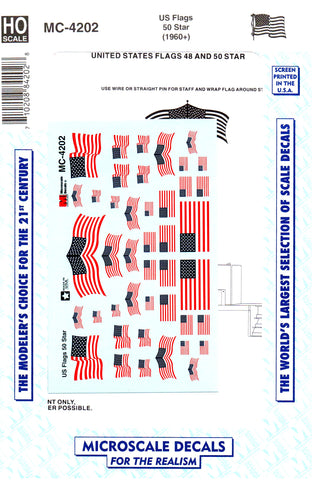 HO Scale Microscale MC-4202 American Flags 50 Stars (1960+) Decal Set