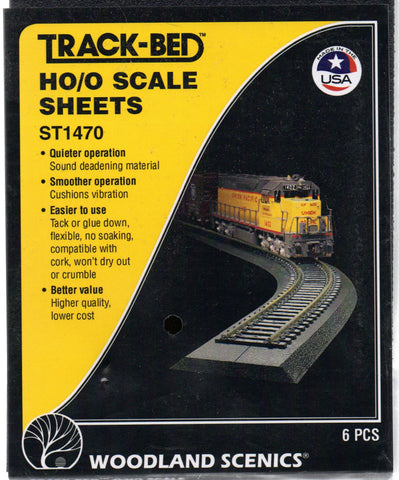 "HO/O Scale Woodland Scenics ST1470 Track-Bed 5"" x 24"" Sheets (6) pcs"
