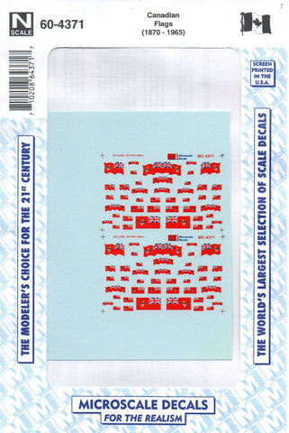 N Scale Microscale 60-4371 Canadian Flags (1870-1965) Decal Set