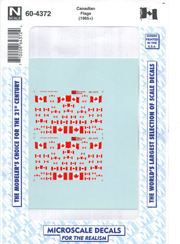 N Scale Microscale 60-4372 Canadian Flags (1965+) Decal Set
