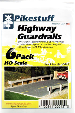 HO Scale Pikestuff #13 Highway Guardrail (6 Pack) 21-1/8""