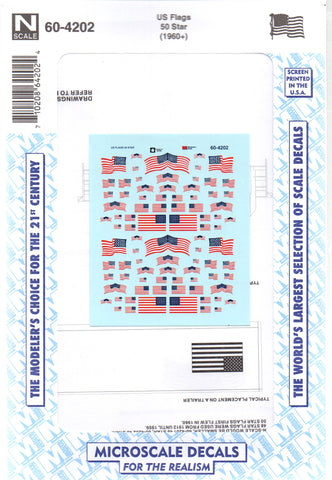 N Scale Microscale 60-4202 US United States Flags  50 Star (1960+) Decal Set