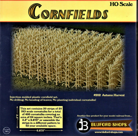 HO Scale Bluford Shops #202 Autumn Harvest Corn 400 Stalks Cornfield Kit