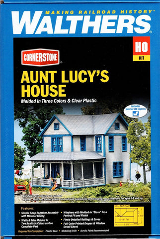 HO Scale Walthers Conerstone 933-3651 Aunt Lucy's House Building Kit
