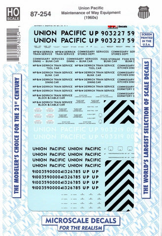 HO Scale Microscale 87-254 Union Pacific UP M-O-W-Maintenance of Way Decal Set