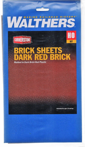HO Scale Walthers Cornerstone 933-3523 Dark Red Brick Sheet
