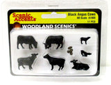 HO Scale Woodland Scenics A1955 Black Angus Cows (11) pcs