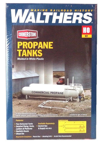 HO Scale Walthers Cornerstone 933-3129 Propane/Ammonia Storage Tanks Kit