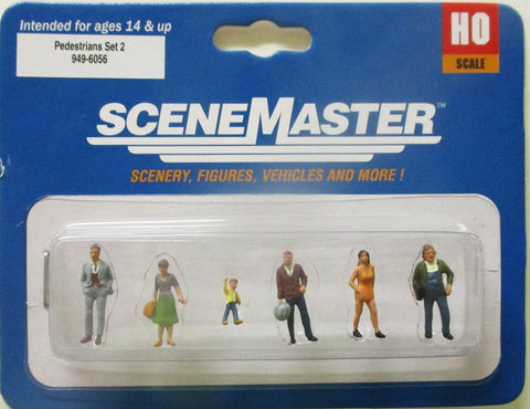 HO Scale Walthers SceneMaster 949-6056 Pedestrians Set #2 Figure Set (6) pcs