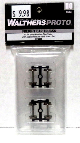 HO Scale Walthers Proto 920-2000 50-Ton Spring Plankless Trucks w/Metal Wheels